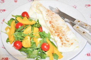 Low fat, high protein egg white omelette with salad